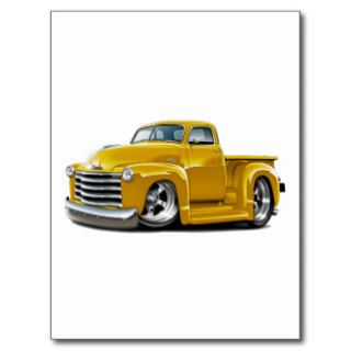 1950 52 Chevy Yellow Truck Postcards