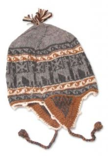 Alpaca blend chullo hat, 'Gray Llamas'   Llama Themed Alpaca Wool Blend Reversible Hat Clothing