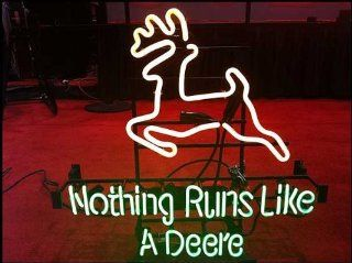 "John Deere Nothing Runs Like a Deere Handcrafted Real Glass Tube Neon Light Sign 32"" X 24"" multiple sizes available"