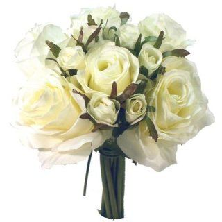 Off White Ivory Artificial Silk Roses Nosegay Bouquet   Arts And Crafts Supplies