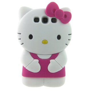 Cute 3d Hello Kitty Deep Pink Soft Silicone Case for Samsung I9300 Galaxy S3 Cell Phones & Accessories