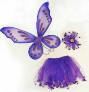 3 Piece Girls Pixie Fairy Costume Wing, Tutu, Hair Tie (Pony O) Set. Select Color Purple Clothing