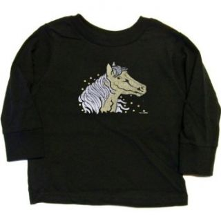 TODDLER LONG SLEEVE T SHIRT  NAVY   4T   Gold and Silver Horse (Metallic Ink) Clothing