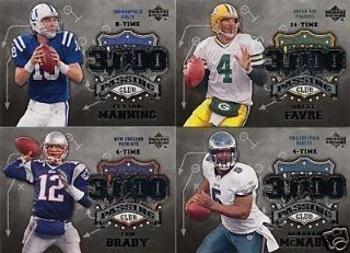 2006 Upper Deck Football 3,000 Yard Passing Club Insert Set Including Brett Favre, Tom Brady, Peyton Manning, Donovan Mcnabb, Drew Brees, Steve Mcnair, Eli Manning, Drew Bledsoe and Others Sports & Outdoors