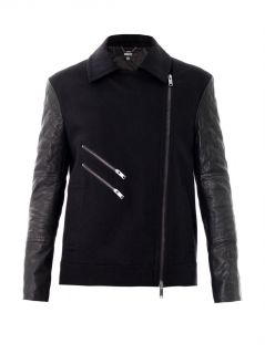 Quilted leather sleeve moto jacket  Dkny