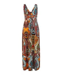 Mandi Orange and Red Paisley Print Maxi Dress