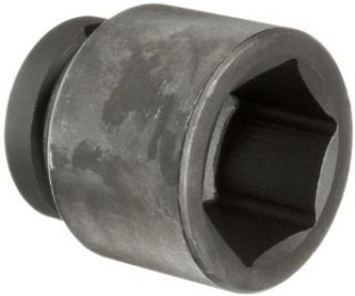 "Martin 7664 Forged Alloy Steel 2"" Type III Opening 1"" Power Impact Drive Socket, 6 Points Standard, 3"" Overall Length, Industrial Black Finish"