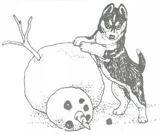 "Dog Rubber Stamp   Siberian Husky with Snowman 2E (Size 2 1/4"" Wide X 2 1/8"" Tall)"
