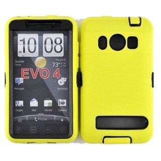 Hybrid Case+Film, Fits HTC EVO 4G PC36100 Armor Yellow Black Hybrid Case (Outside Yellow Soft Silicone Skin, Inside Black Front and Back Hard Case) + LCD Screen Protective Film Sprint (does not fit HTC EVO 4G LTE) Cell Phones & Accessories