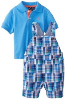Nautica Baby Boys Infant 2 Piece Overall Polo Set, Waverunner, 18 Months Clothing