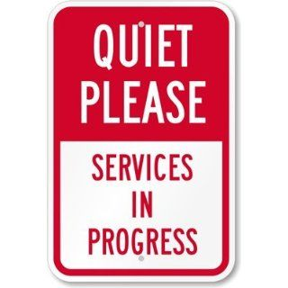 "SmartSign 3M Engineer Grade Reflective Sign, Legend ""Quiet Please   Services in Progress"", 18"" high x 12"" wide, Red on White Yard Signs"