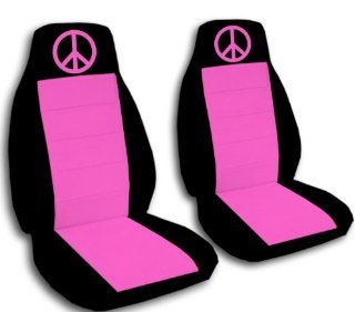 2000 VW Beetle car seat covers. 2 black and hot pink seat covers, with a hot pink peace sign. If you have side airbags please notify us Automotive