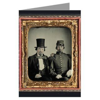 1 Vintage Greeting Cards of Confederate soldier in uniform and unidentified man, possibly the soldier's father from the Civil War