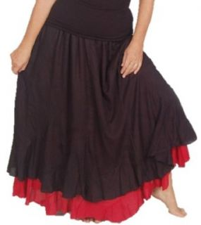 Lotustraders Skirt Maxi Layer Gauzy Smock Hippie Gypsy 4X 5X 6X Black Red D622