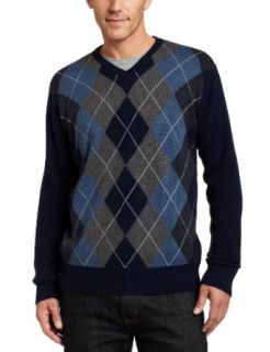 Van Heusen Mens Gradient Argyle V Neck Sweater, Thunder Navy, Large at  Men�s Clothing store