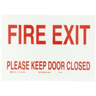 "Brady 84682 Self Sticking Polyester Door Sign, 7"" X 10"", Legend ""Fire Exit Please Keep Door Closed"" Industrial Warning Signs"