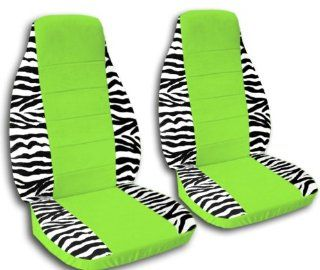 2 white and black zebra car seat covers with a lime green center for a 2003 Mini Cooper, please notify us if you have side airbags Automotive