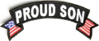 "Embroidered Iron On Patch   Proud Son USA American Flag Patch 4"" x 1.5"" Patch Clothing"