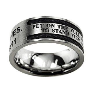 "Christian Mens Stainless Steel 10mm Abstinence Black Cable ""Put on the Full Armor of God, to Stand Firm Against the Schemes of the Devil"" Ephesians 611 Cable Black Enamel Comfort Fit Chastity Ring for Boys   Guys Purity Ring Jewelry"