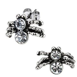 High Polished Surgical Stainless Steel Spider Stud Earring with Double Simulated Diamonds (Friction Style Post)   Crazy2Shop Jewelry