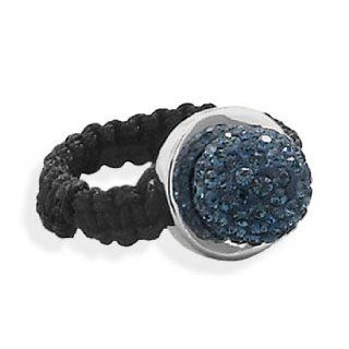 Dark Blue Pave Crystal Ball Ring with Black Macrame Band Sterling Silver Jewelry