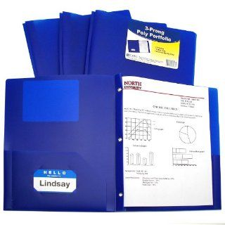 C Line Two Pocket Heavyweight Poly Portfolio with Prongs, For Letter Size Papers, Includes Business Card Slot, 1 Case of 25 Portfolios, Blue (33965)  Portfolio Ring Binders