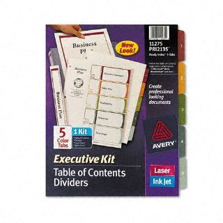 Avery Products   Avery   Ready Index Contents Dividers, Five Tab, 1 5, Letter, Multicolor, Set of 5   Sold As 1 Set   A complete presentation binder package.   A coordinated kit that includes a printable table of content page and matching dividers.   Binde