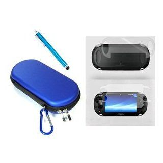 COSMOS � 3 SET Blue Color Hard travel case cover bag with carabiner memory/game card pocket for Playstation PS Vita + Front & Back LCD Screen Protector + Blue Stylus Universal Touch Screen Pen for Sony PS VITA,Kindle Fire HD + Free Cosmos Brand LCD tou