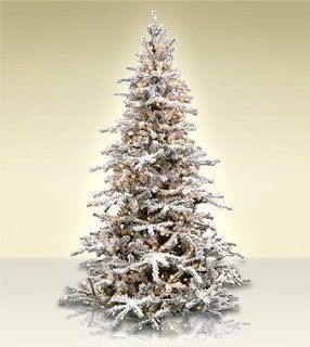 7.5' Artificial Christmas Trees Artificial Christmas Trees Flocked White Forest Tree   Multi Colored Lights