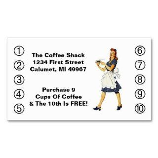 Retro Business Punch Cards Diner happy Waitress Business Card Templates  Business Card Stock
