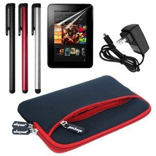 Skque Dual Pocket Sleeve Case(Black with Red Trim) + Clear Crystal Screen Protector Film + Micro USB Home Travel Wall Charger + 3 Packs Touch Screen Stylus Pen for  Kindle Fire HD 7 Inch Tablet Electronics