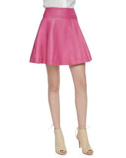 Womens Leather Skater Skirt, Bright Pink   Cusp by    Pink