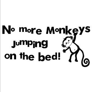 No More Monkeys Jumping on the Bed wall saying vinyl lettering home decor decal sticker applique art kids   Wall Art Stickers For Kids