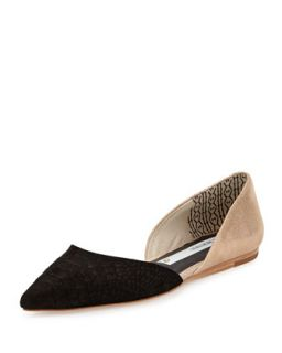 Two Tone Snake Embossed Leather dOrsay Flat, Black/Rose Gold   Matt Bernson