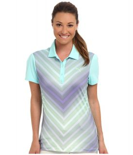 PUMA Golf Transitional Graphic Polo Womens Short Sleeve Knit (Blue)