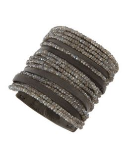 Leather Labradorite Multi Strand Cuff   Brunello Cucinelli   Gray (ONE SIZE)