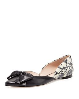 general point toe bow flat, black   kate spade new york   Black (38.0B/8.0B)
