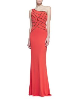 Womens One Shoulder Sequined Bodice Gown   David Meister   Orange (6)