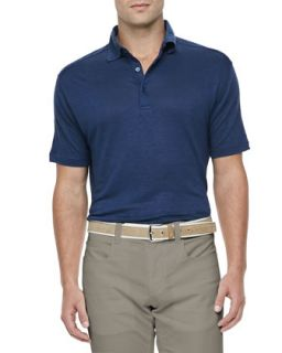 Mens Doublon Linen Jersey Polo, Blue   Loro Piana   Blue (SMALL)