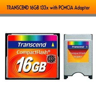 TRANSCEND 16GB 133x Compact Flash Card with Transcend PCMCIA Adapter Computers & Accessories