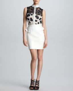 Womens Leather Peplum Skirt, White   Jason Wu   White (4)