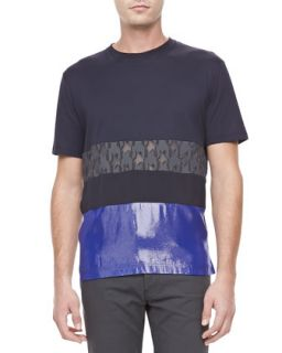 Mens Mixed Media Short Sleeve Tee, Black/Blue   Lanvin   Black/Blue (M)