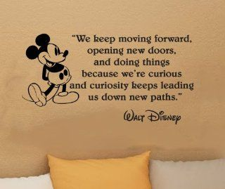 "Walt Disney Mickey Mouse We Keep Moving Forward Wall Quote Vinyl Wall Art Decal Sticker Word Saying Vinyl Decal 16"" X 30""   Wall Decor Stickers"