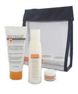 Nutrius to Go Skin Care Travel Gift Set Kit, As Seen on Tv, Includes Facial Cleanser 2 Oz, Miracle Face Lift 2 Oz, Miracle Eye Cream .15 Oz  Facial Cleansing Products  Beauty