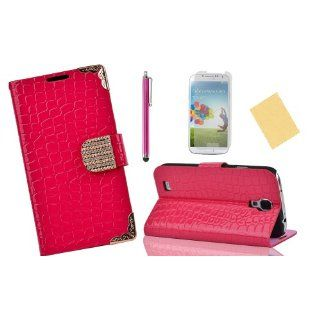 OMIU(TM)Special Corner Design Quality Wallet Leather Carry Case Cover with Credit Card Holders Fit for Samsung Galaxy S4 I9500(Hot Pink), With Luxury Rhinestones Closure Button, Stand View Function, Sent Screen Protector+Stylus+Cleaning Cloth Cell Phones