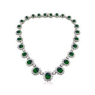 "As Seen On "" Pretty Woman "" Necklace and Earrings SET   Emerald Green Cubic Zirconia CZ May Birthstone INCLUDES VELVET GIFT BOX SOJ Jewelry"