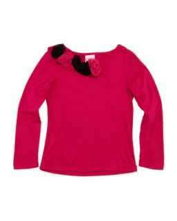 Jersey Top with Rosette Trim, 4 6X