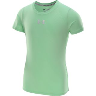 UNDER ARMOUR Girls HeatGear Sonic Printed Short Sleeve Top   Size Small, Aloe