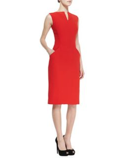 Womens Split V Neck Dress with Short Sleeves, Red   Alexander McQueen   Red