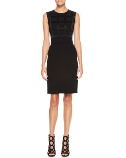 Womens Sleeveless Windowpane Dress, Black   Escada   Black (42)